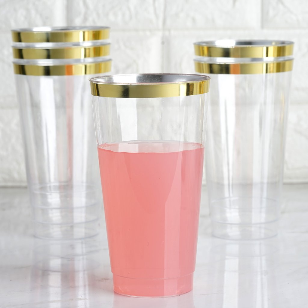 Efavormart 60 Pack 18oz Clear Cocktail Disposable Plastic Glasses For Wedding Banquet Party Events