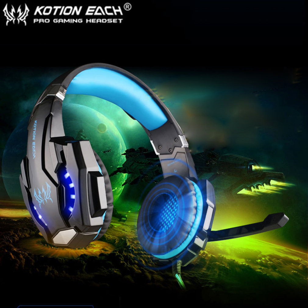 EACH G9000 3.5mm Gaming Headphone Microphone USB Headset LED Light For PS4