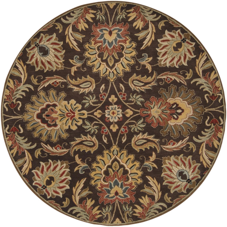 8' Cornelian Dark Chocolate and Maroon Red Hand Tufted Round Wool Area Throw Rug