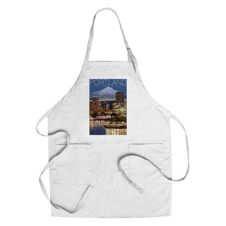 Portland  Oregon   Skyline At Night   Lantern Press Artwork  Cotton Polyester Chefs Apron