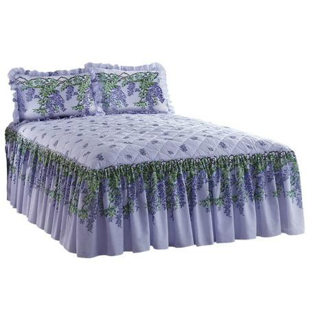 Purple Wisteria Floral Quilt Top Ruffle Skirt Lightweight