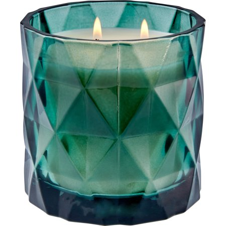 Better Homes & Gardens Geometric Glass 2-wick Candle, Soft Cashmere Amber - Blue Candle