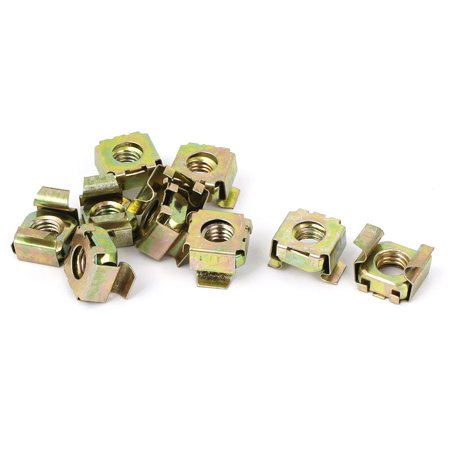 10pcs M8 x 1.25mm Yellow Zinc Plated Square Cage Floating Nuts for Computer Case