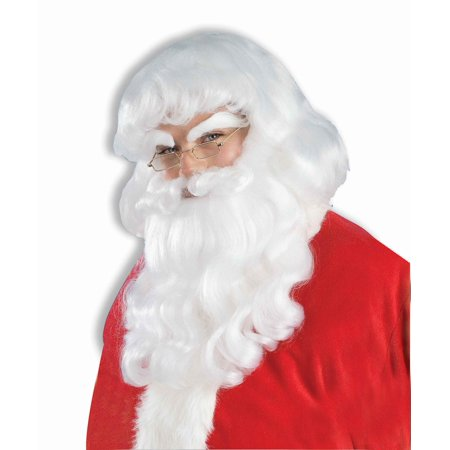 Santa Claus Wig And Beard Set (Adult Mens Santa Claus White Beard and Wig Christmas Costume Accessory)