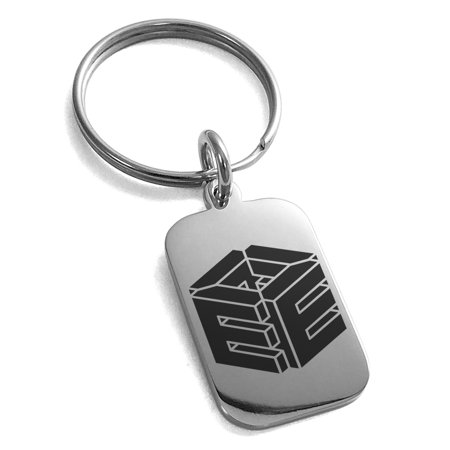 Stainless Steel Letter E Initial 3D Cube Box Monogram Engraved Small Rectangle Dog Tag Charm Keychain Keyring