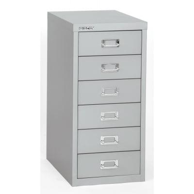 Bisley 6-Drawer Steel Multidrawer Storage Cabinet, Silver BDSMD6SL by