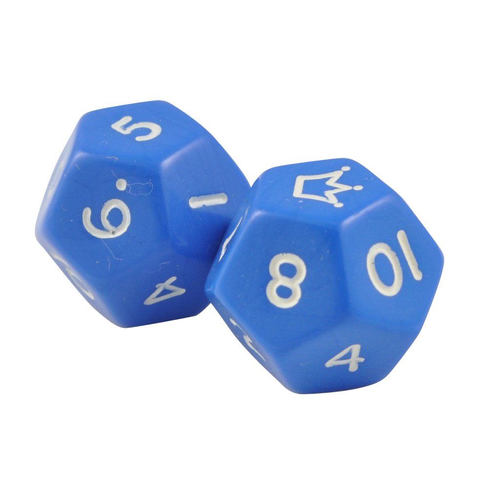 Set of 2 - 12 Sided Jester Blue Opaque Dice in Snow Organza Bag