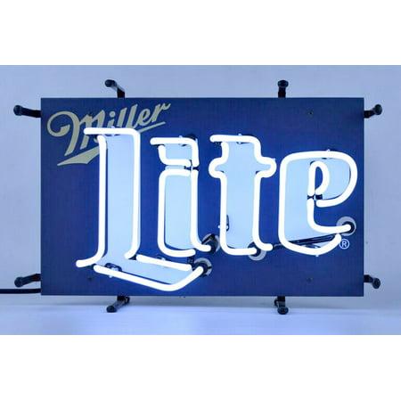 Miller Lite Beer Neon Sign 17 x 11 Inches Wall Window Shelf Metal -