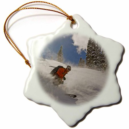 3Drose Skiing  Wasatch Mountains  Utah  Usa   Us45 Hga0343   Howie Garber  Snowflake Ornament  Porcelain  3 Inch