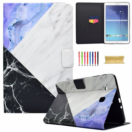"Galaxy Tab E 9.6"" T560/ T561/ T565 Case, Slim-fit Multi-angle Stand Case Magnetic Closure PU Leather Cover With Card Slots for Samsung Galaxy Tab E 9.6 Inch T560/ T561/ T565, Three-color Block"
