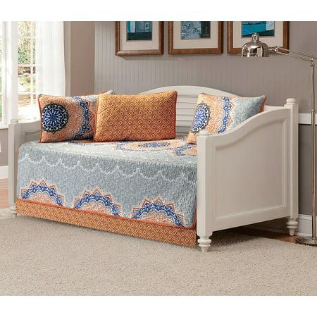 Elegant Design (Fancy Linen 5pc Daybed Cover Set Orange Coastal Plain