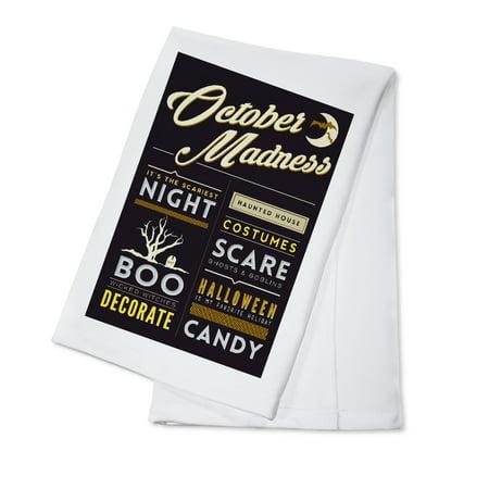 Glass Block Halloween Decorating Ideas (October Madness - Halloween Block Typography - Lantern Press Artwork (100% Cotton Kitchen)