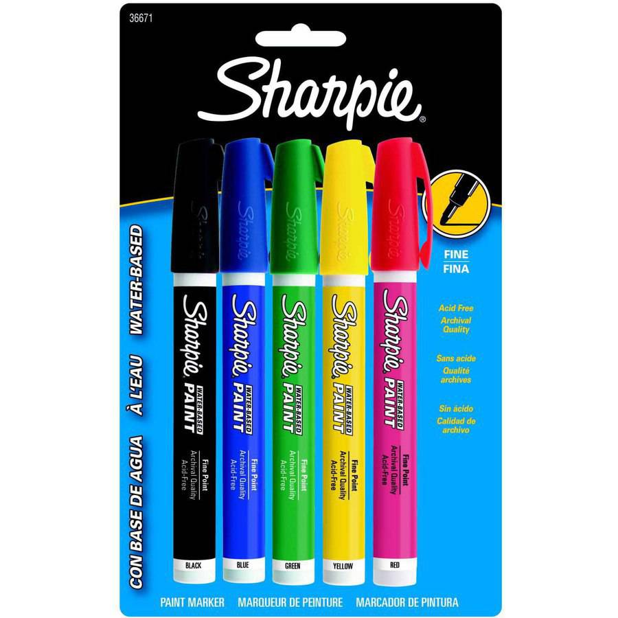 Sharpie Water-Based Paint Marker Set, 5-Colors, Fine Point