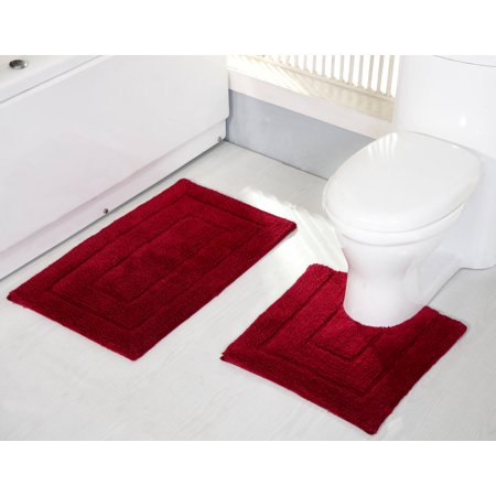 Avani 2-Piece Cotton Bath Mat Set in Burgundy