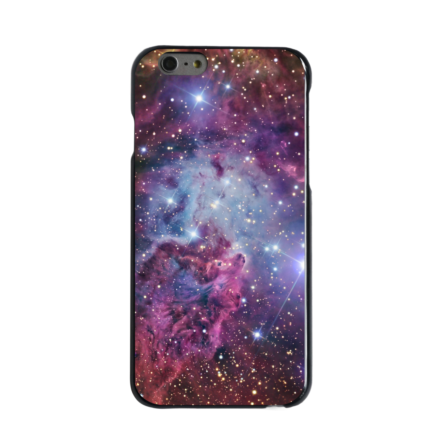 "CUSTOM Black Hard Plastic Snap-On Case for Apple iPhone 6 / 6S (4.7"" Screen) - Pink Purple Blue Fox Fur Nebula"