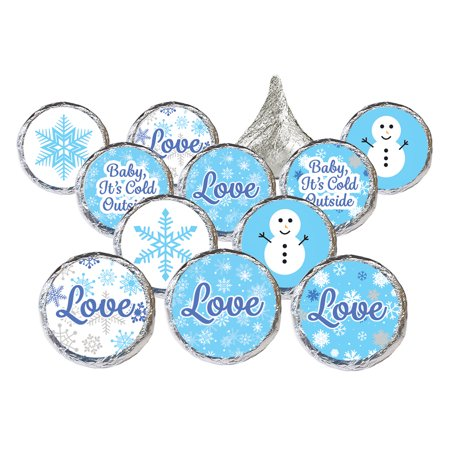 Winter Wonderland Party Stickers, 324ct - Blue Snowflake Winter Wonderland Decorations Snowman Party Supplies for Baby Its Cold Outside Baby Shower or Bridal Shower - 324 Count Stickers