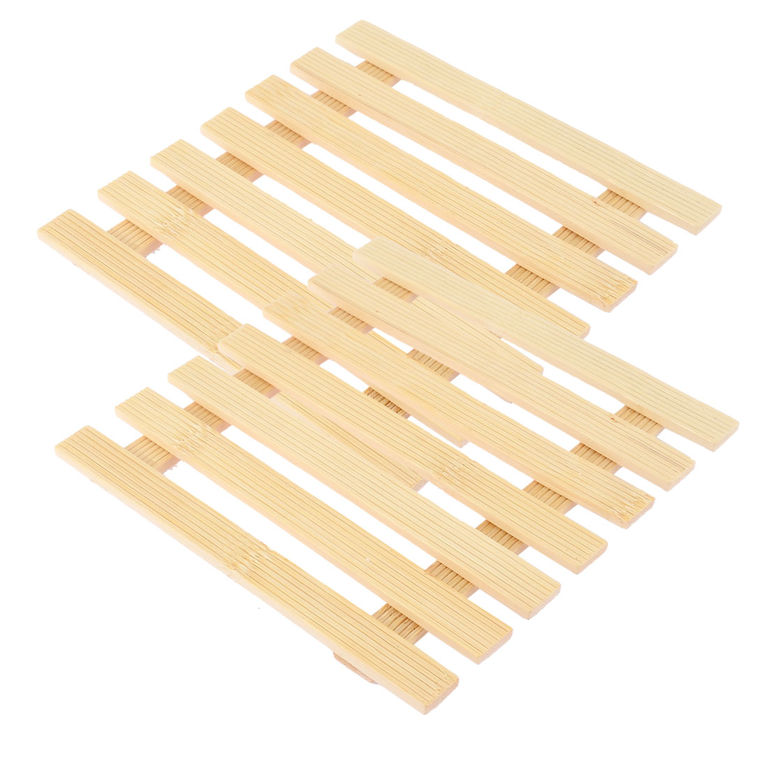 Kitchen Table Cup Dishes Bamboo Insulation Mat Beige 17 x 17cm 2pcs