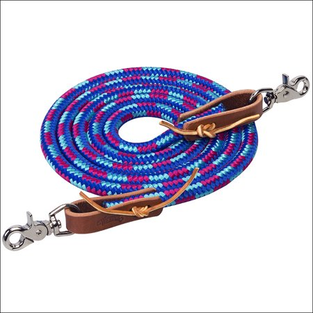 DAZZLING BLUE 8 ft WEAVER HORSE POLY ROPING REINS W/ LEATHER LACES LOOP ENDS