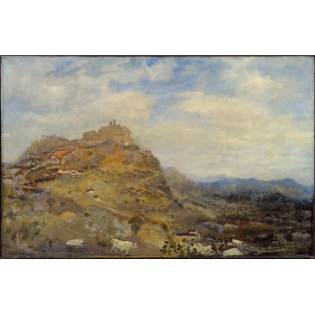 """Italian Hill Town Poster Print by Arthur B Davies (American Utica New York 1862  """"1928 Florence) (18 x (Towns In Italy That Start With B)"""