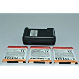 3 x 1850mAh Batteries and Charger for HTC Compatible Mode...