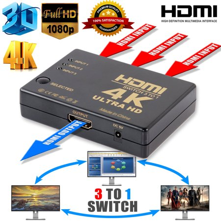 TSV HDMI Switch, HDMI Port, hdmi switch with remote and USB Cable Support 4K, 2K, 1080P, 3D, 3 Port HDMI Switch for Amazon fire TV, PS4,