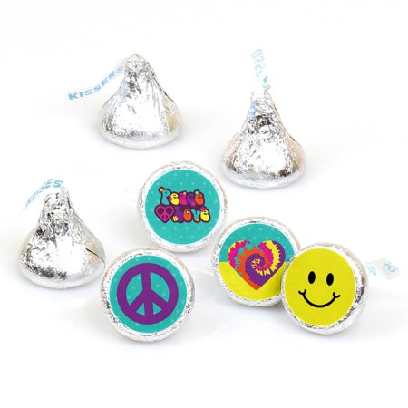 60's Hippie - 1960s Groovy Party Round Candy Sticker Favors - Labels Fit Hershey's Kisses (1 sheet of 108)