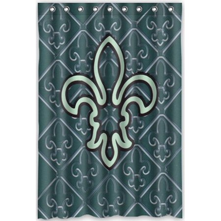 HelloDecor Fleur De Lis Flower Iris Shower Curtain Polyester Fabric Bathroom Decorative Curtain Size 48x72 Inches