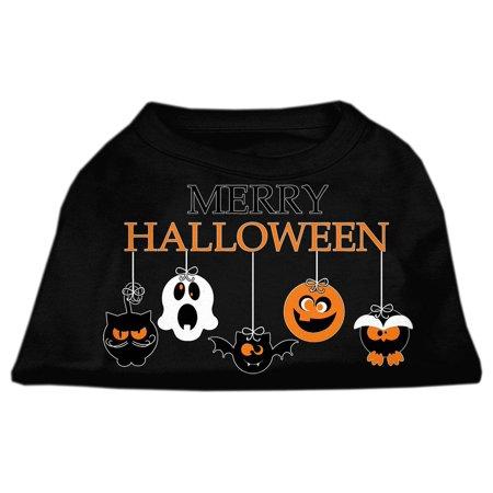 Merry Halloween Screen Print Dog Shirt Black Med (12) - Merry Halloween