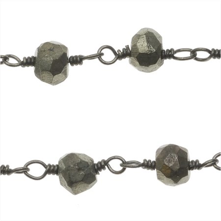 Gun Metal Wire Wrapped Gemstone Chain, 4mm Pyrite Rondelles, 1 Inch, Natural Gold (Wire Wrapping Gun)