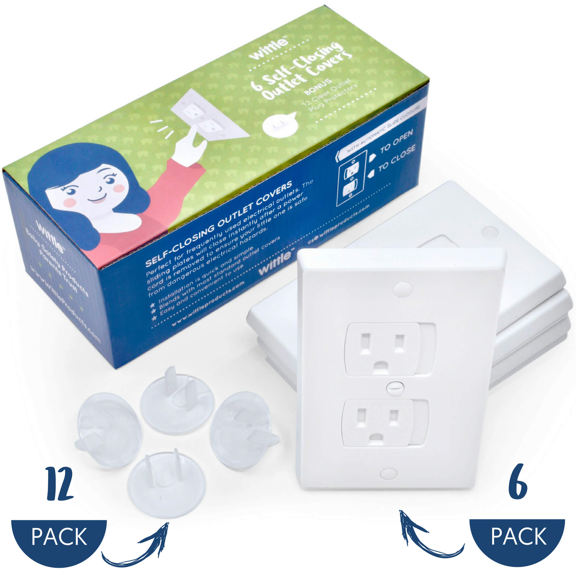 Wittle Self Closing Outlet Covers 6 Pack Plus Plug Cover Outlet Protectors 12 Pack | Child Safety | Baby Proof... by Wittle