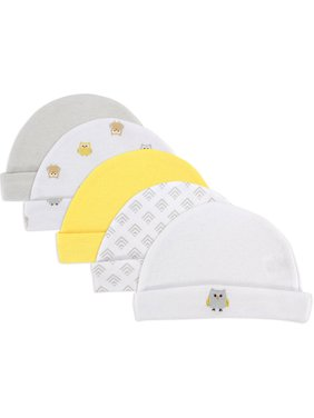 Luvable Friends Baby Boy or Girl Gender Neutral Caps, 5-Pack