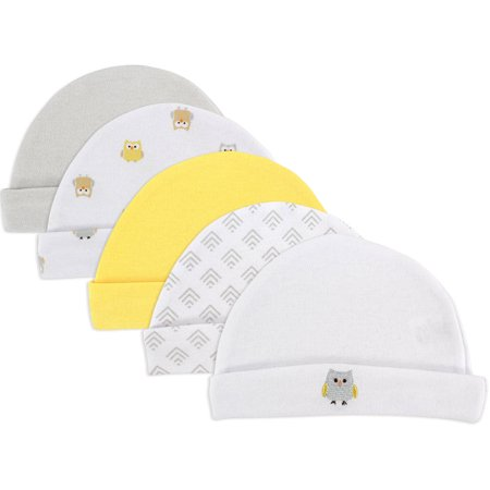 Newborn Baby Boys' and Girls' Caps 5-Pack, 0-6 months, Choose Your Color - Baby Month By Month
