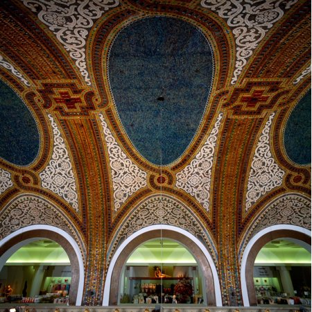 Details of Tiffany Dome ceiling by Louis Comfort Tiffany Marshall Field And Company Building Chicago Illinois USA Canvas Art - Panoramic Images (24 x (Tiffany Online Usa)