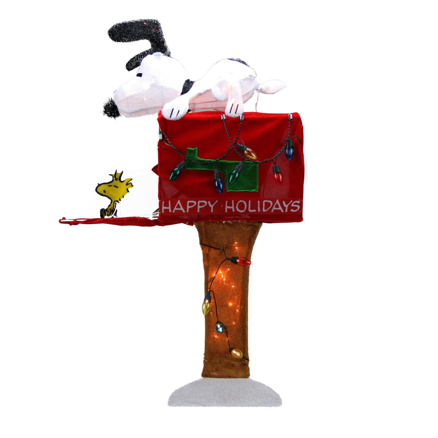 "36"" Pre-Lit Peanuts Snoopy with Red Mailbox Animated Christmas Yard Art Decoration - Clear Lights"