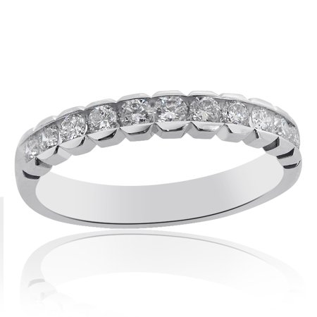 Channel Set Round Brilliant Cut Diamond Wedding Ring in 14K White Gold (0.45 tcw, (G SI-1)