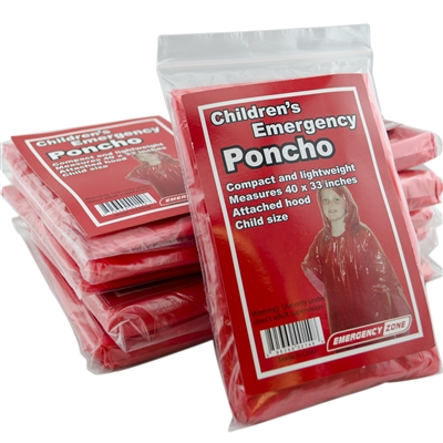 Emergency Zone Children's Emergency Poncho-10 Pack by Emergency Zone