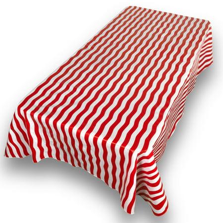 Oblong Vinyl Tablecloth - Bold Stripe Red Premum Quality Vinyl Flannel Back Oblong Tablecloth 52
