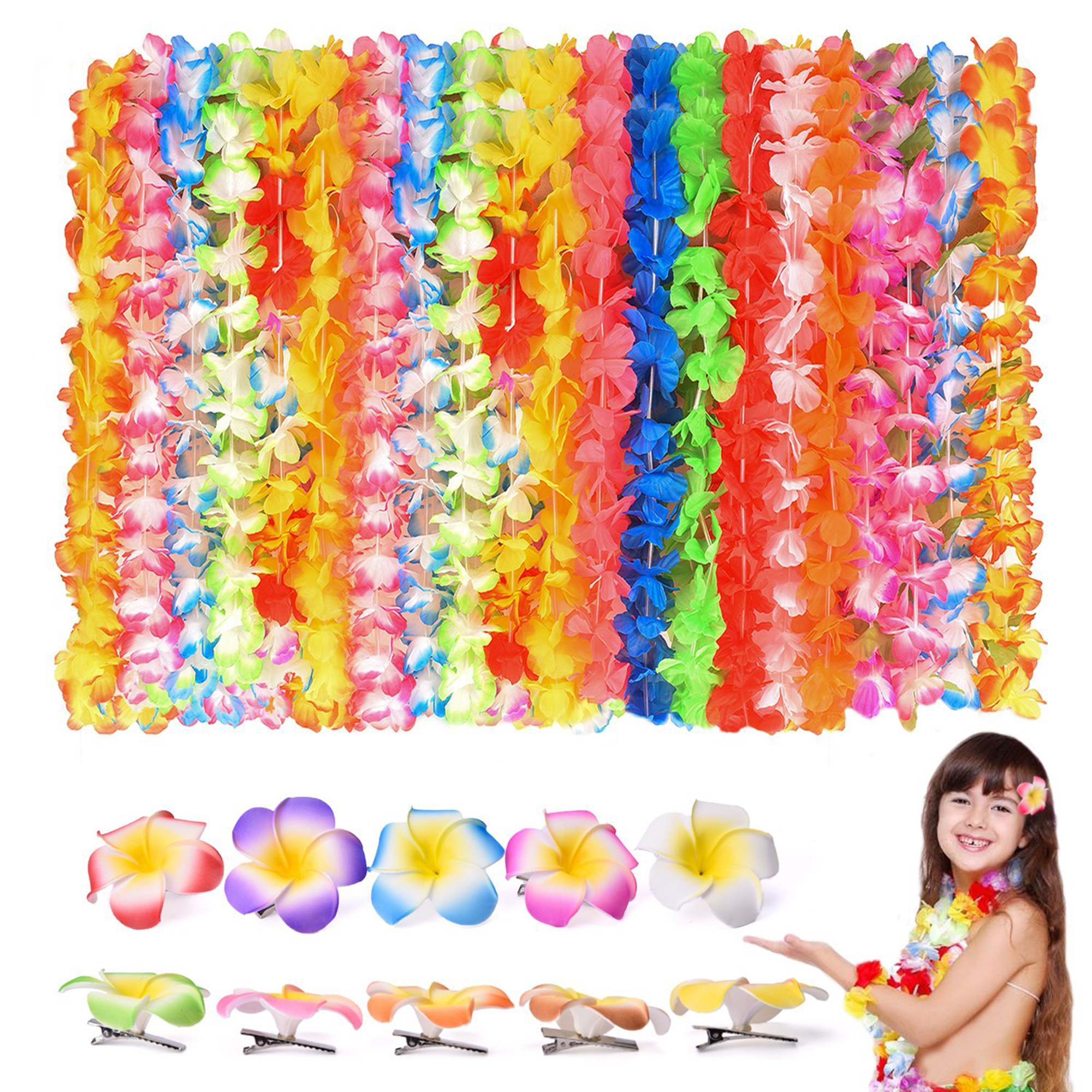 40 PCs Tropical Hawaiian Leis Ruffled Flowers Necklaces Luau Party Supplies with Flower Lei Hair Clip Beach Party Decorations, Birthday Party Favors F-17