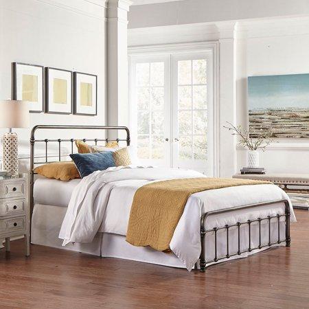 Regency Metal Bed Frame, Vintage Style Weathered Nickel Finish Folding Bed Frame
