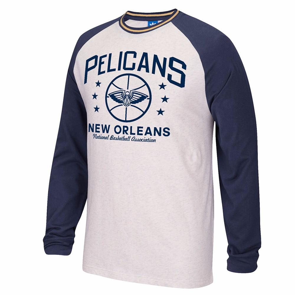 New Orleans Pelicans NBA Adidas White Adidas Originals Long Sleeve Raglan Team Classics Lightweight Crew For Men