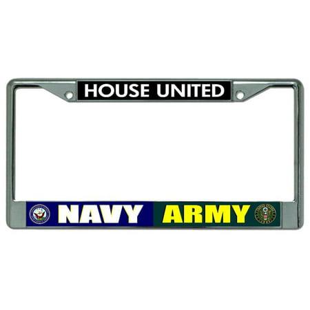 Navy Army House United Chrome License Plate Frame
