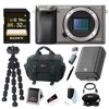 """Sony a6000 w/ Camera Gadget Bag & 32GB SDHC Accessory Bundle - Graphite """"Test the limits of your creativity with the premium mirror less DSLR that's focused on speed. Every artistic shot you take-from fast-action to candid-benefits from 24.3MP detail and the world's fastest auto focus. For capturing crucial moments that go by in a blink, the A6000 can shoot 11 photos in one second. It's compact and easy to use, too. Two quick-access dials let you change settings on the fly. Very intuitive.Bundle Includes:• Sony Alpha a6000 Mirrorless Digital Camera Body Only (Graphite)• Sony 32GB Class 10 70MB/s SDHC Memory Card• Lithium Ion Battery for Sony NP-FW50• Focus Flexible 10"""""""" Spider Tripod• Focus Camera Digital SLR Camera Bag Bundle"""""""