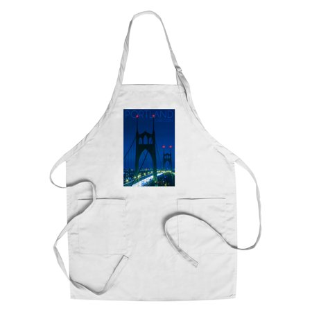 Portland  Oregon   St  Johns Bridge Night   Lantern Press Photography  Cotton Polyester Chefs Apron