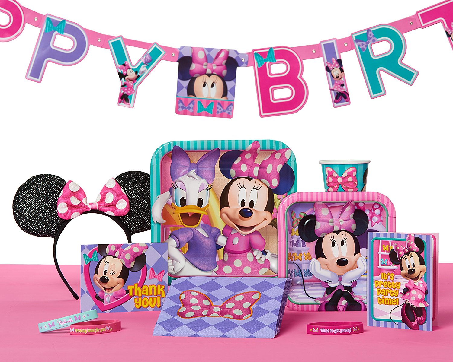 Minnie Mouse Bow Tique Happy Birthday Party Decoration Banner 7 59