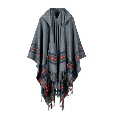 New Women Knitted Poncho Cape Hooded Stripe Oversized Cardigan Sweater Long Shawl Scarf Cashmere Pashmina