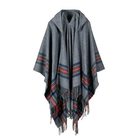 - New Women Knitted Poncho Cape Hooded Stripe Oversized Cardigan Sweater Long Shawl Scarf Cashmere Pashmina