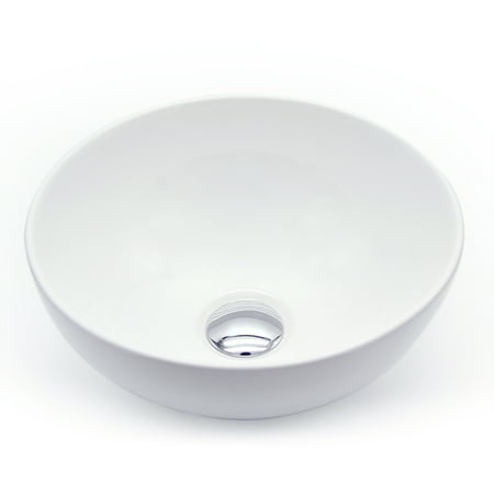 Ainfox Bathroom White Round Bowl Ceramic Vessel Vanity Sink Basin with Pop up Drain Combo
