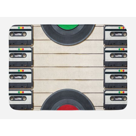 Indie Bath Mat, Top View of Audio Cassettes Gramophone Records Old School Retro Music Theme, Non-Slip Plush Mat Bathroom Kitchen Laundry Room Decor, 29.5 X 17.5 Inches, Black White Cream, Ambesonne (Slip Mat Record)