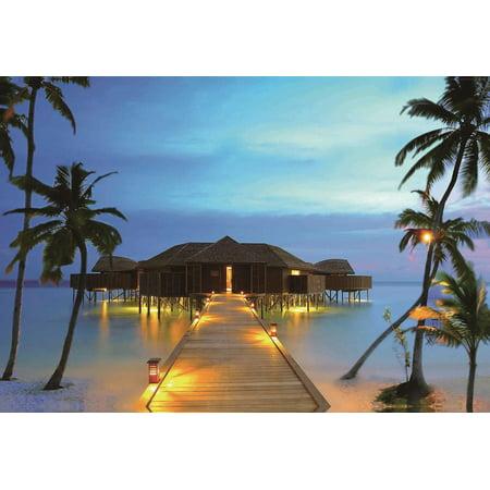LED Lighted Tropical Paradise Island Beach Scene Canvas Wall Art 15.75
