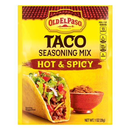 (4 Pack) Old El Paso Hot and Spicy Taco Seasoning Mix, 1 (Red Paso Blend)
